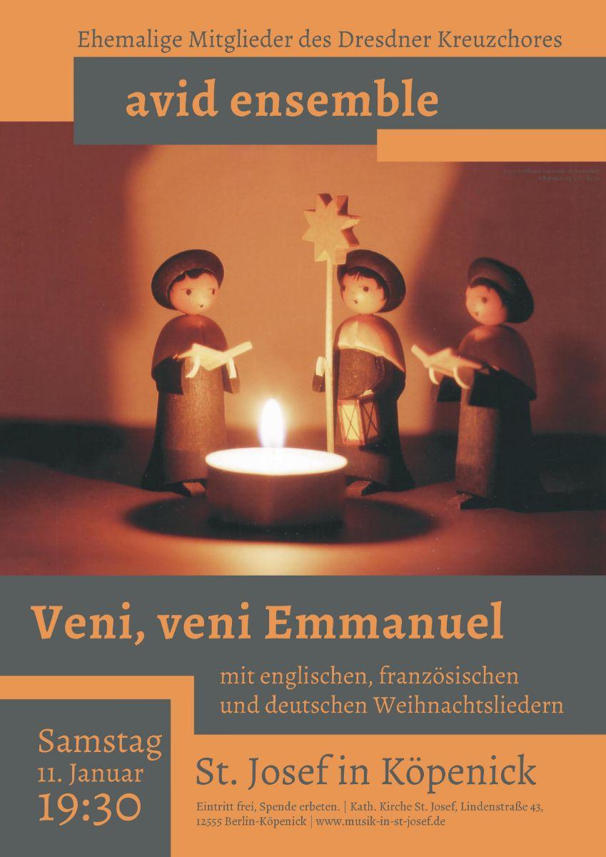 11.01.20 19.30 Uhr Konzert mit dem Ensemble AVID (ehemalige Sänger des Dresdner Kreuzchores) in St. Josef