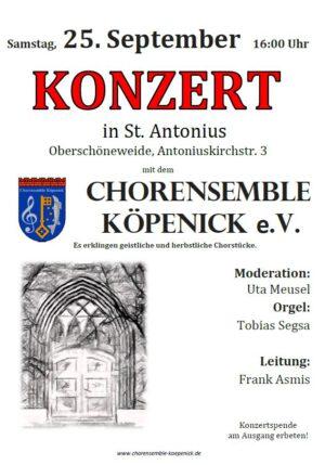 25.9. 16 Uhr – St. Antonius – Konzert des Chorensemble Köpenick
