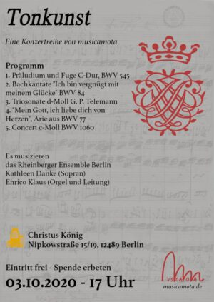 Konzert am 03.10.2020 um 17 Uhr in Christus König, Adlershof