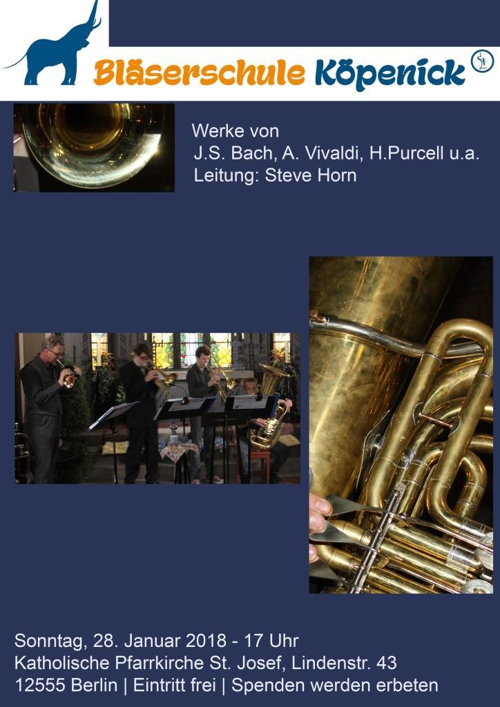 Konzert der Bläserschule Köpenick und jungen Organisten | Leitung: Steve Horn und Tobias Segsa | Sonntag, 28.01.2018 um 17 Uhr