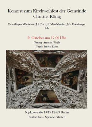 Konzert in Christus König für Orgel und Mezzosopran