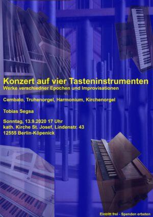 Konzert auf vier Tasteninstrumenten – Sonntag, 13.9. 17 Uhr in St. Josef