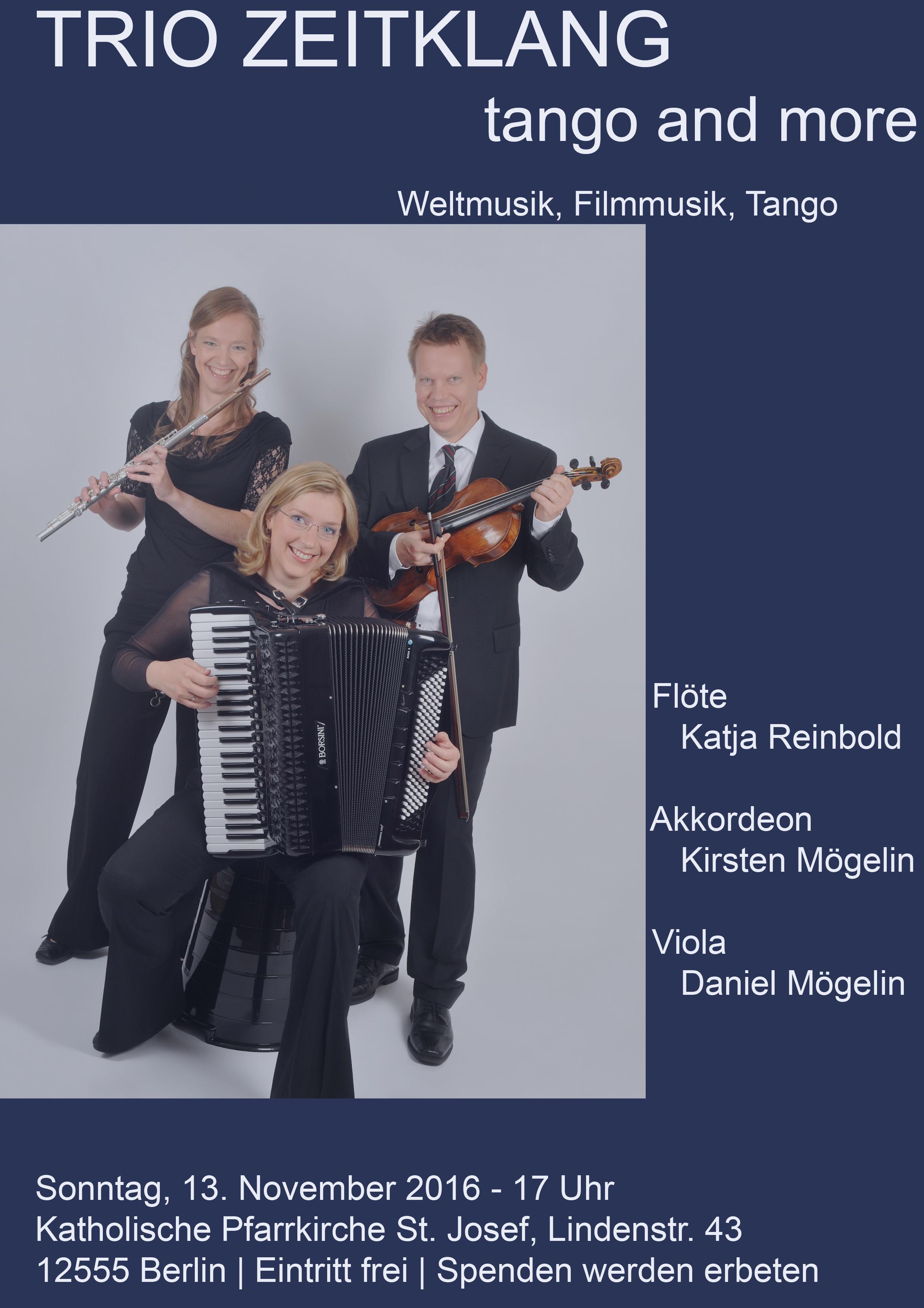 """Konzert 13.11.16 um 17 Uhr – TRIO ZEITKLANG BERLIN """"Tango and more"""""""