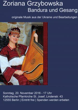 Konzert mit Zoriana Grzybowska – Bandura und Gesang – Sonntag, 20.11.16 um 17 Uhr