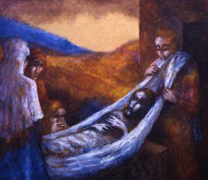 Der Leichnam Jesu wird  in das Grab gelegt | 13. Station auf dem Online-Kreuzweg