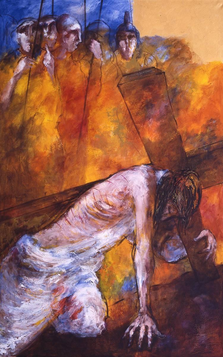 Jesus fällt zum ersten Mal unter dem Kreuz | 3. Station auf dem Online-Kreuzweg
