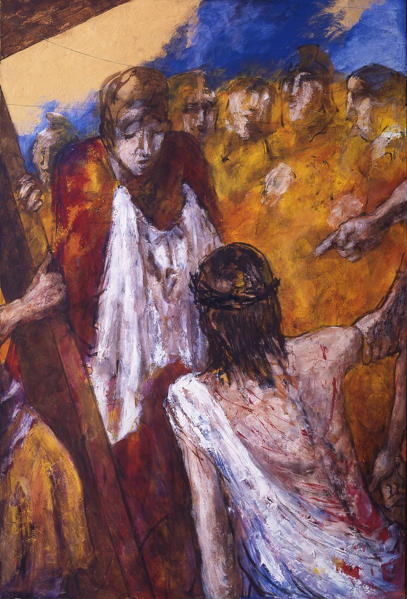 Veronika reicht Jesus das Schweißtuch | 6. Station auf dem Online-Kreuzweg