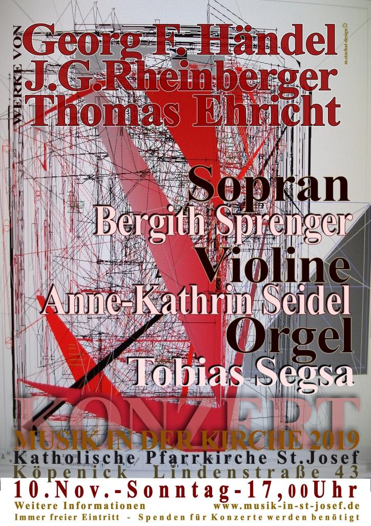 Sonntag, 10.11.2019, 17 Uhr Konzert für Sopran, Violine und Orgel Werke von J.G. Rheinberger, C. Franck, T. Ehricht u.a.