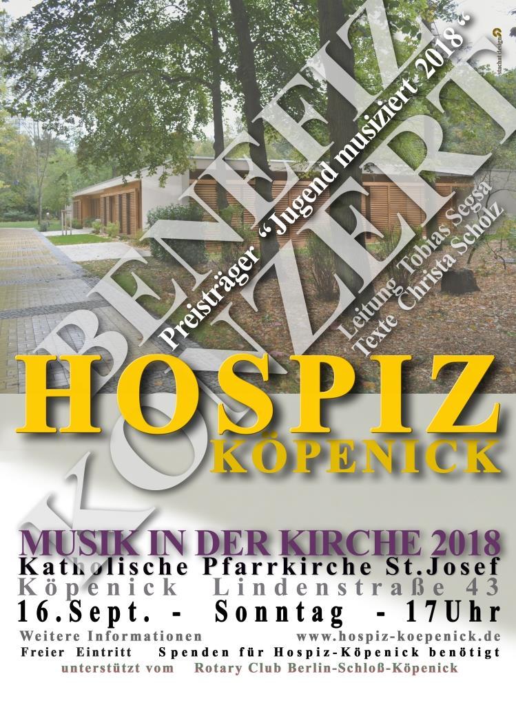Sonntag, 16.9.2018, um 17 Uhr Benefizkonzert für das Hospiz Köpenick