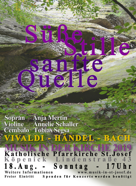"""""""Süße Stille, sanfte Quelle"""" – Konzert für Sopran, Violine und Cembalo am 18.08.2019 um 17 Uhr"""