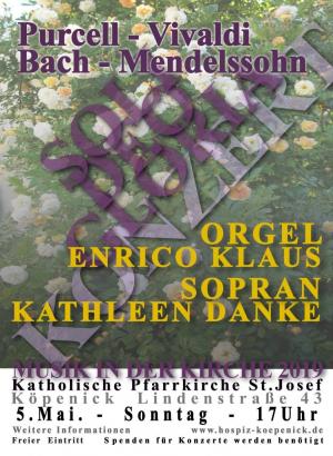 """Sonntag, 5.5.2019, 17 Uhr """"Soli Deo Gloria"""" Konzert für Sopran und Orgel"""