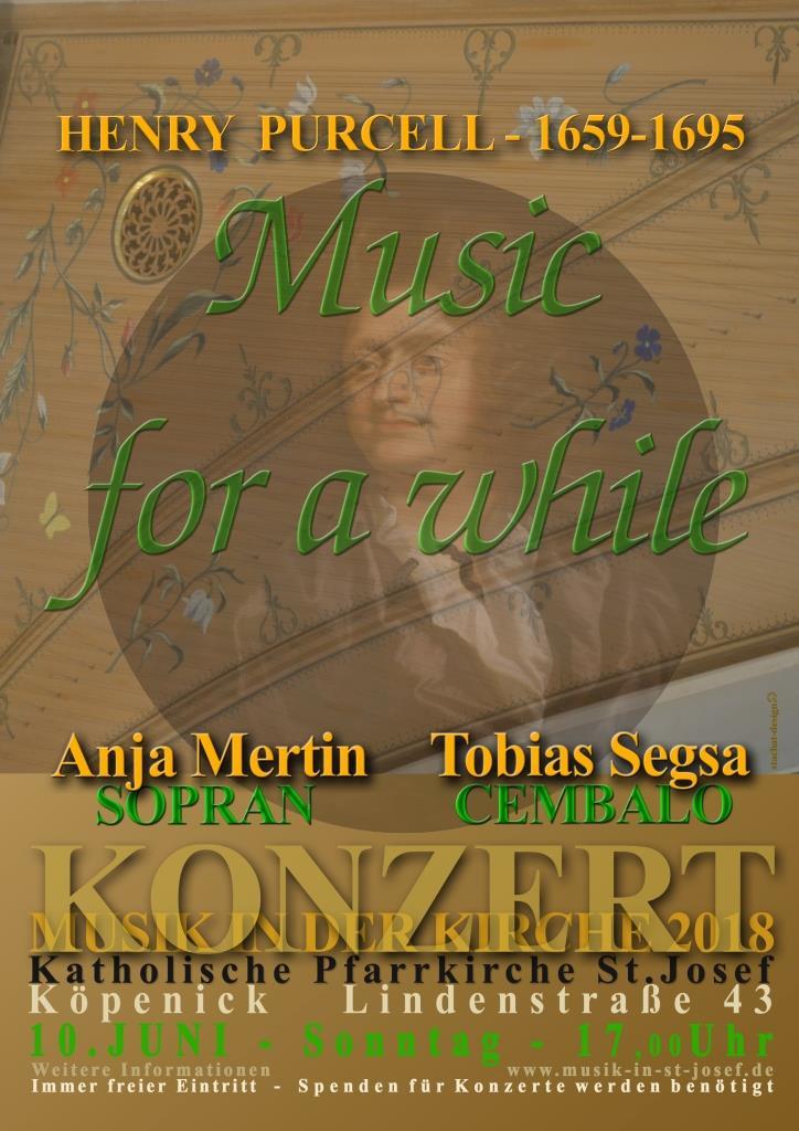 """Konzert – """"Music for a while"""" – Lieder und Instrumentalmusik von Henry Purcell – Sonntag, 10.06.2018 um 17 Uhr"""